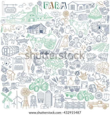 Farm Vector Drawings Collection. Various types - dairy, poultry, pig, meat, fruit, vegetables, market garden, plantation. Agricultural buildings, animals and domestic birds, cars and equipment.
