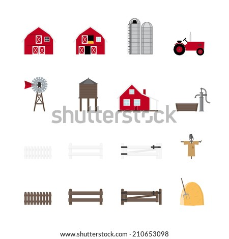Farm Vector Icon Collection. Set of 16 farming and agriculture icons. - stock vector