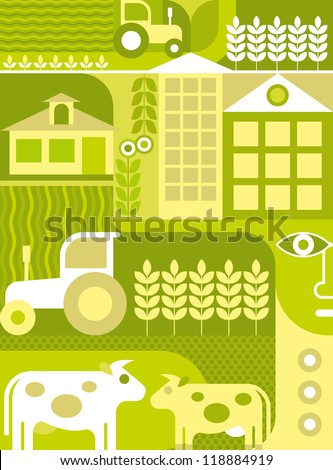 Farm - vector illustration. Green colors. Collage.