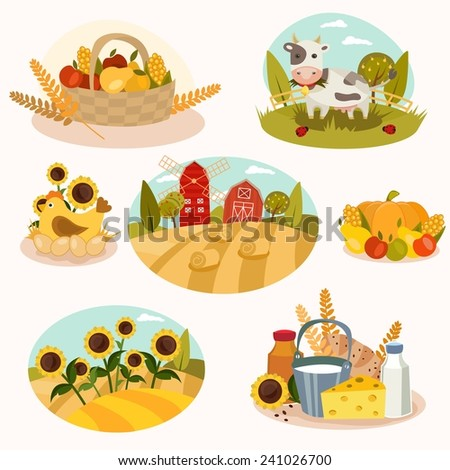 Farm vector set - 7 detailed icons. - stock vector