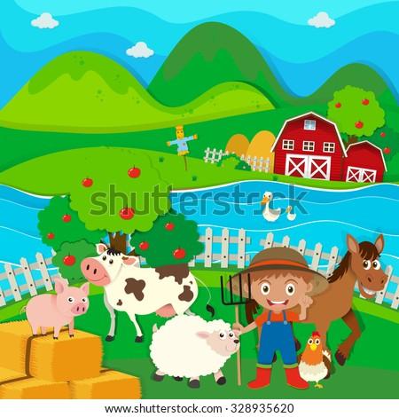 Farmer and farm animals on the farm illustration - stock vector
