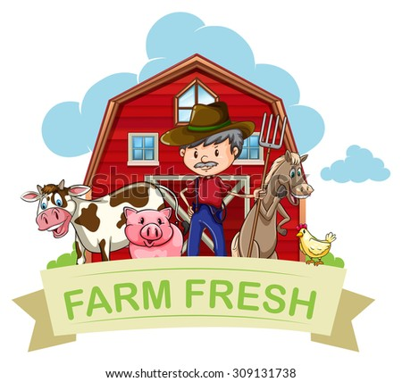 Farmer and farm animals with banner illustration - stock vector