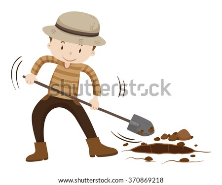 Farmer digging hold on the ground illustration - stock vector