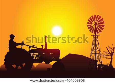 Farmer Driving a Tractor - stock vector