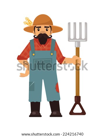 Farmer flat illustration  - stock vector