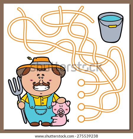 Farmer game. Vector illustration of maze(labyrinth) game with cute Farmer, pig and bucket for children - stock vector