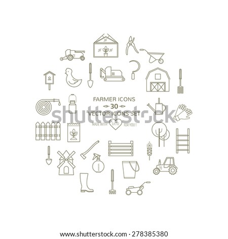 Farmer, gardening tools outlined icons set on isolated  background. 30 high quality simple linier icons. Vector illustration, eps 8 - stock vector
