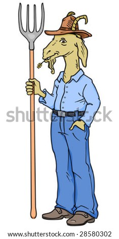Farmer goat character standing with pitchfork in hand. - stock vector