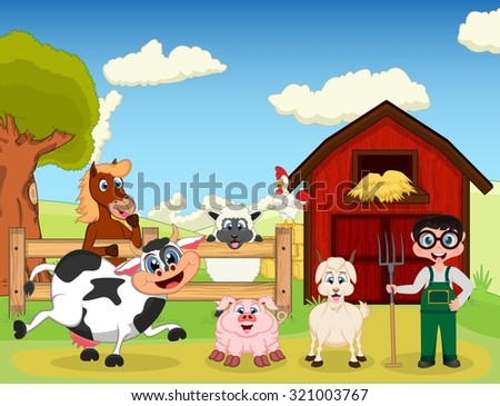farmer, goat, pig, horse, goat, sheep, chicken and cow on the farm cartoon