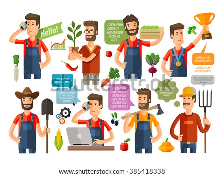 farmer, grower, farm icons set. vector illustration - stock vector