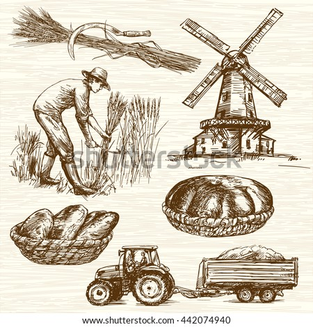 Farmer harvesting wheat. Hand drawn collection. - stock vector