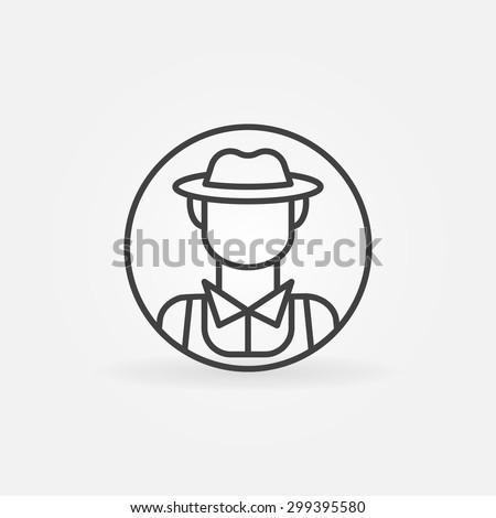 Farmer icon or logo - vector thin line man avatar or symbol - stock vector