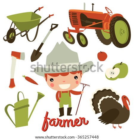 farmer kid profession. cute character set. - stock vector