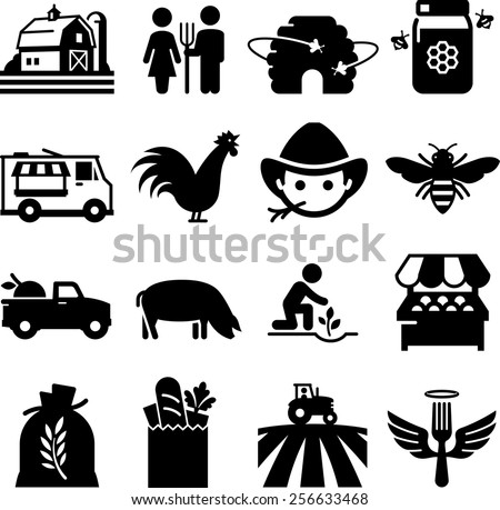 Farmer'??s market and other agricultural icons. Vector icons for digital and print projects. - stock vector