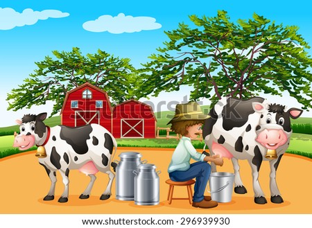 Farmer sitting on a stool milking cows in front of a barn - stock vector
