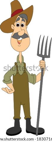 Farmer Standing with Pitchfork - stock vector