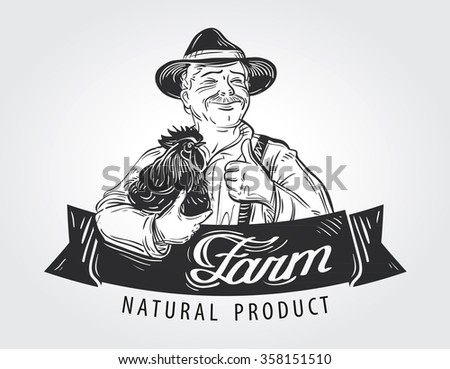 farmer with a chicken in his hand. hand-drawn sketch - stock vector