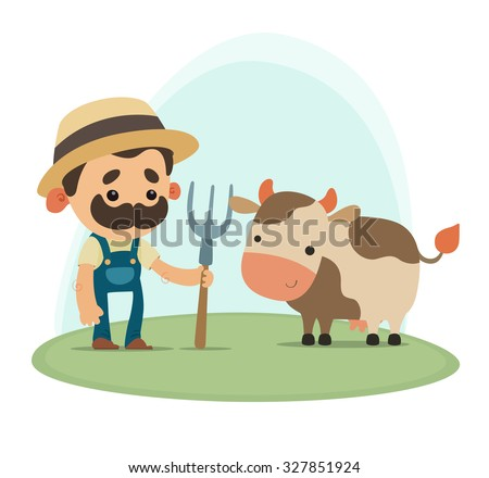 Farmer with cow - stock vector