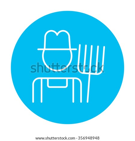 Farmer with pitchfork line icon for web, mobile and infographics. Vector white icon on the light blue circle isolated on white background. - stock vector