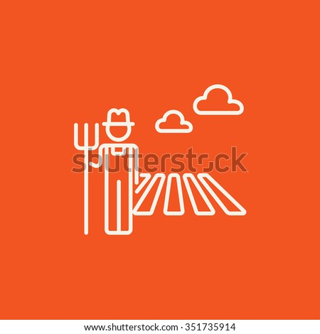Farmer with pitchfork standing on the field line icon for web, mobile and infographics. Vector white icon isolated on red background. - stock vector