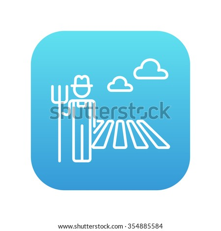 Farmer with pitchfork standing on the field line icon for web, mobile and infographics. Vector white icon on the blue gradient square with rounded corners isolated on white background. - stock vector