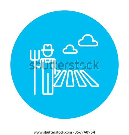 Farmer with pitchfork standing on the field line icon for web, mobile and infographics. Vector white icon on the light blue circle isolated on white background. - stock vector