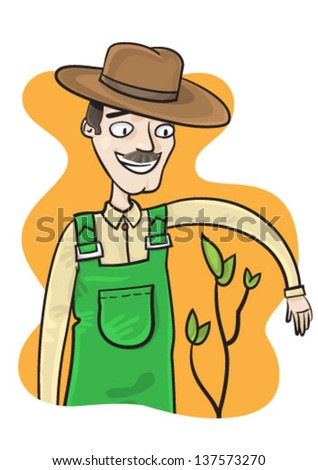 Farmer with plant - stock vector