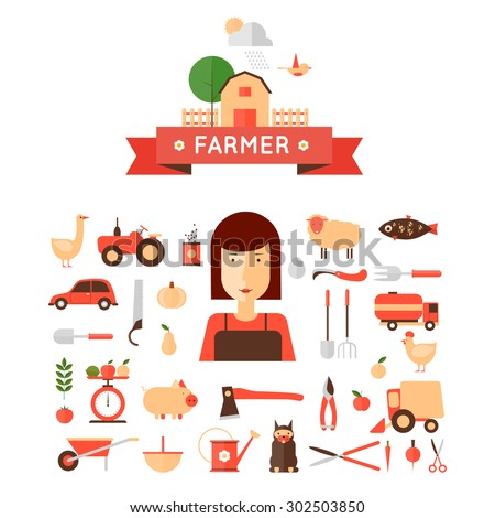 Farmer woman and set of icons. Harvesting, agriculture. Flat design vector illustration - stock vector