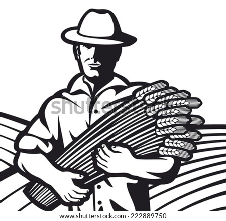 farmer worker holding a wheat (farmer and wheat ears, farmer with wheat in hands) - stock vector