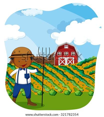 Farmer working in the farmland illustration - stock vector
