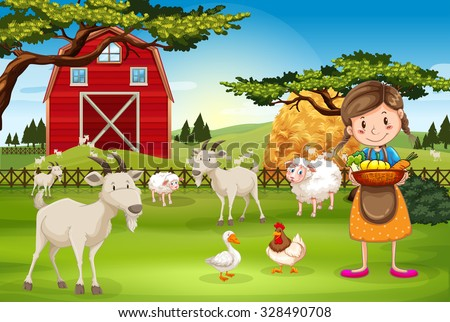 Farmer working on the farm with animals illustration - stock vector