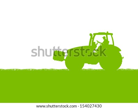 Farmers agriculture tractor in cultivated country grain field landscape background illustration vector ecology concept - stock vector