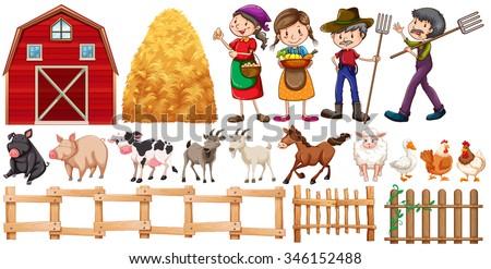 Farmers and farm animals illustration - stock vector