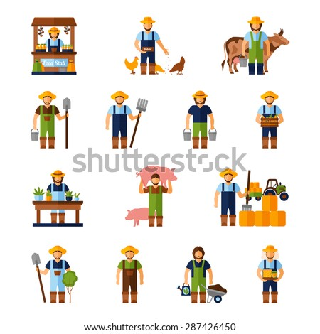 Farmers and gardeners flat agriculture icons set isolated vector illustration - stock vector