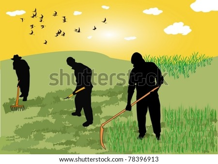 farmers in the field - stock vector