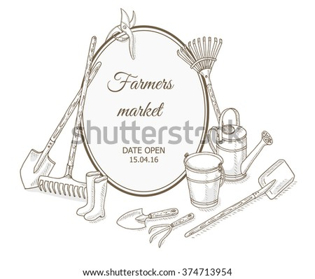 Farmers market background. Garden equipment: shovel, rake, watering can, bucket. Farm shop background with gardening tools. Gardening, farming and agriculture hand drawn vector illustrations - stock vector
