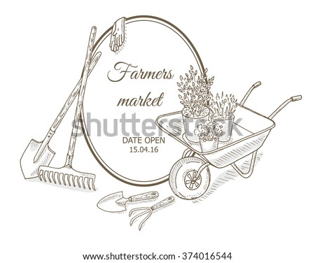 Farmers market background. Garden equipment: shovel, rake, watering can, bucket, garden cart. Farm shop background with gardening tools. Gardening, farming and agriculture sketch - stock vector