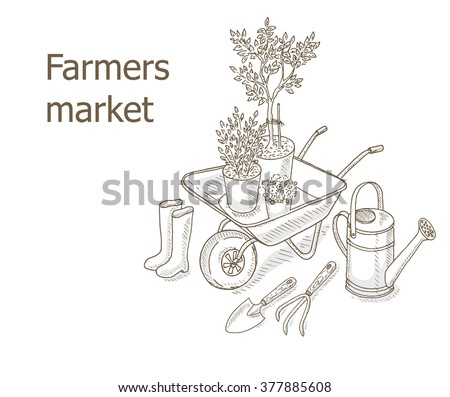 Farmers market background. Garden equipment: watering can, bucket, garden cart. Farm shop background with gardening tools. Gardening, farming and agriculture hand draw illustration - stock vector
