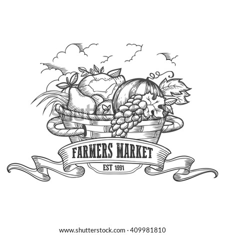 Farmers market badge. Farmer Monochrome vintage engraving fresh organic vegetables and fruits agriculture farmer sign isolated on white background. Farmer Sketch vector hand drawn illustration. - stock vector