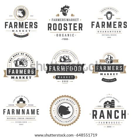 farmers market logos templates vector objects stock vector