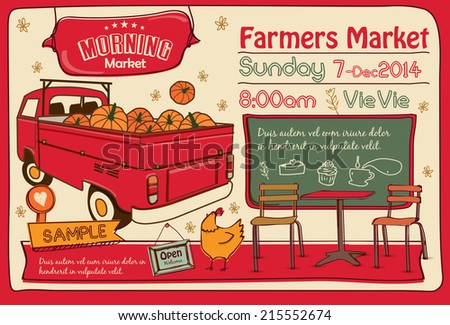 Farmers Market Poster - stock vector