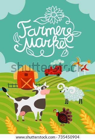 Animal Life On Farm Horizontal Cover Stock Vector 612075611