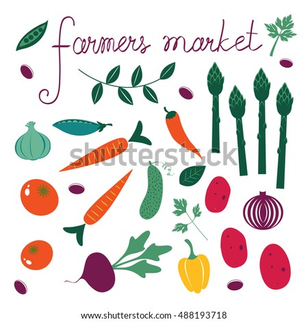 Farmers market set. Collection of fresh vegetables