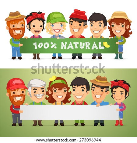Farmers Presenting Horizontal Banner. In the EPS file, each element is grouped separately. - stock vector