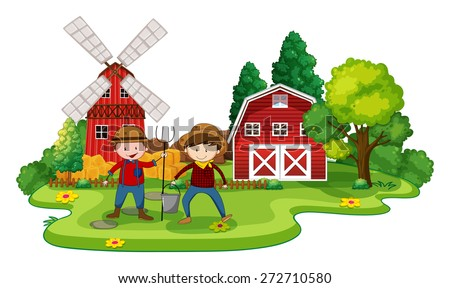 Farmers working in a farm at day time - stock vector