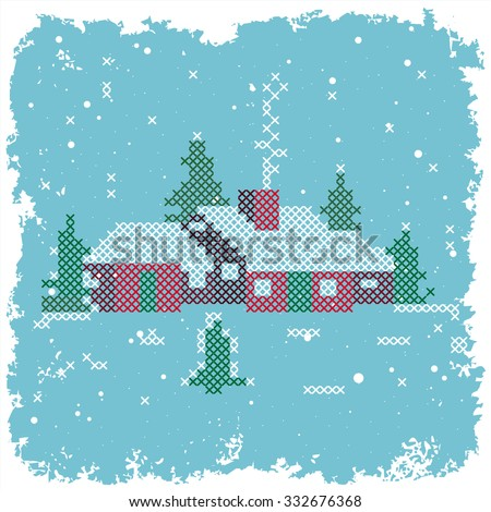 Farmhouse in rural area over grunge icy snowy background  - stock vector