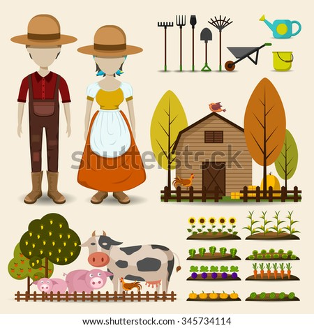 Farming agriculture and cattle icon set consists of male female farmer uniform clothing, retro wooden barn, cow pig chicken animal livestock, growing flower fruit vegetable garden in cartoon vector