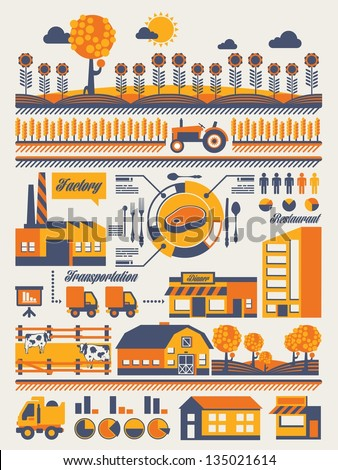 farming and food industry info graphic - stock vector