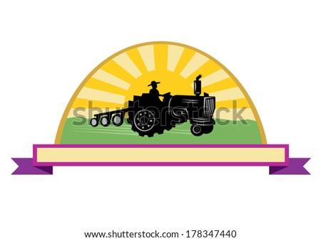 Farming concept vector. Tractor with sun and ribbon  - stock vector
