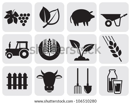 farming icons. - stock vector
